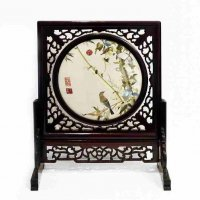 小鳥の刺繍・中国美術・回転式ガラス・衝立・刺繍盤