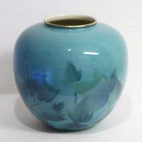 深川製磁・色絵彩磁・花器・花瓶・フラワーベース