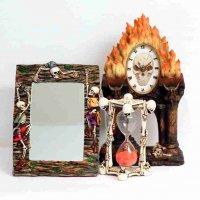 ドクロ・髑髏・鏡・時計・砂時計・3点セット