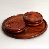 木づかいの器・丸盆・茶托5個・セット