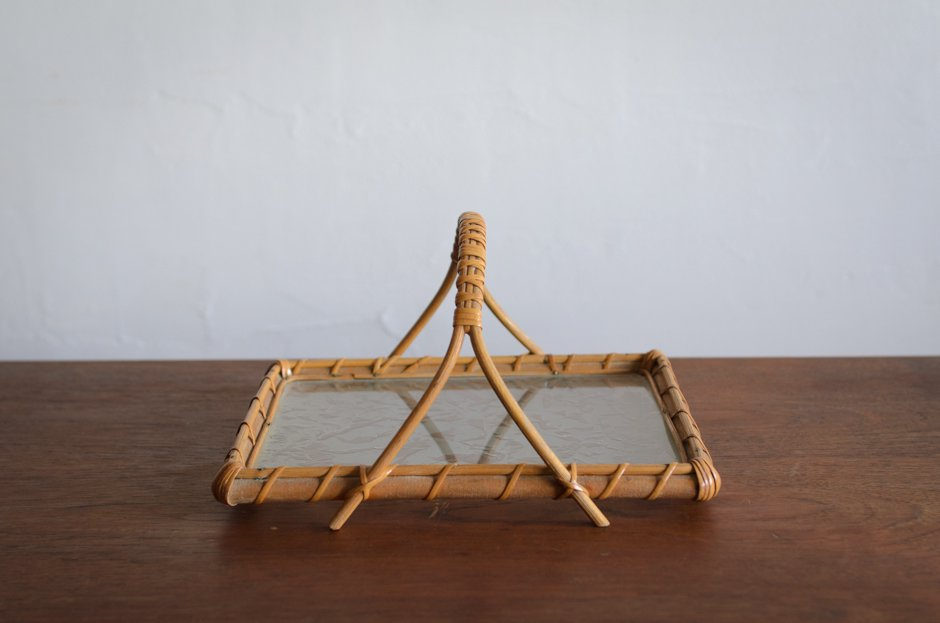 Finland Vintage Rattan Glass Tray #1