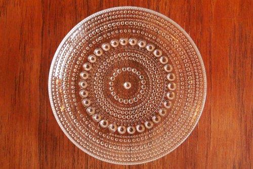 Nuutajarvi ヌータヤルヴィ Kastehelmi カステヘルミ 14cm Plate Clear/Oiva Toikka