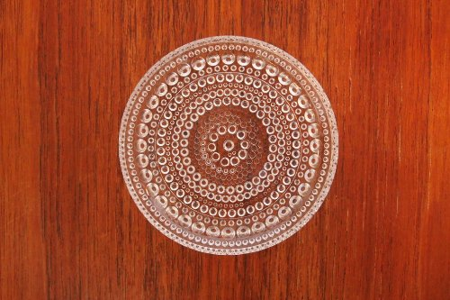 Nuutajarvi ヌータヤルヴィ Kastehelmi カステヘルミ 8.5cm mini Plate Clear/Oiva Toikka