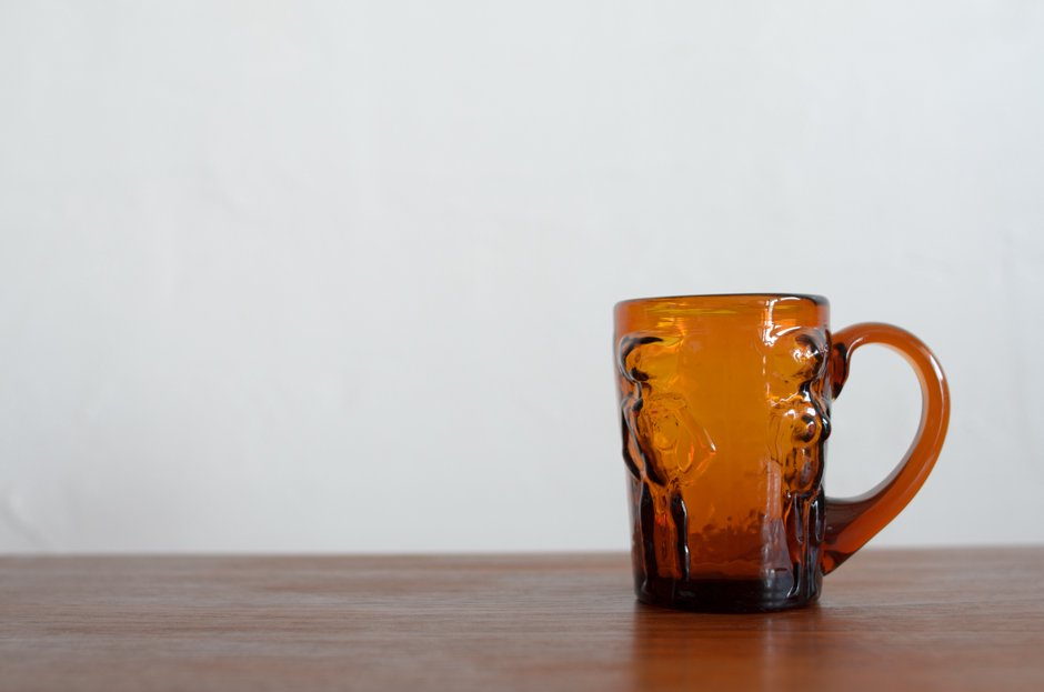 Erik Hoglund  エリック・ホグラン Glass Mug H248 Amber/Boda