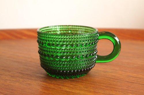 Nuutajarvi ヌータヤルヴィ Vintage Kastehelmi カステヘルミ グリーン カップ/オイバ・トイッカ