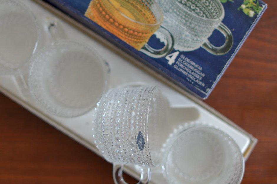 Nuutajarvi ヌータヤルヴィ Kasatehelmi カステヘルミ Vintage クリアカップ×4 オリジナルBOX2