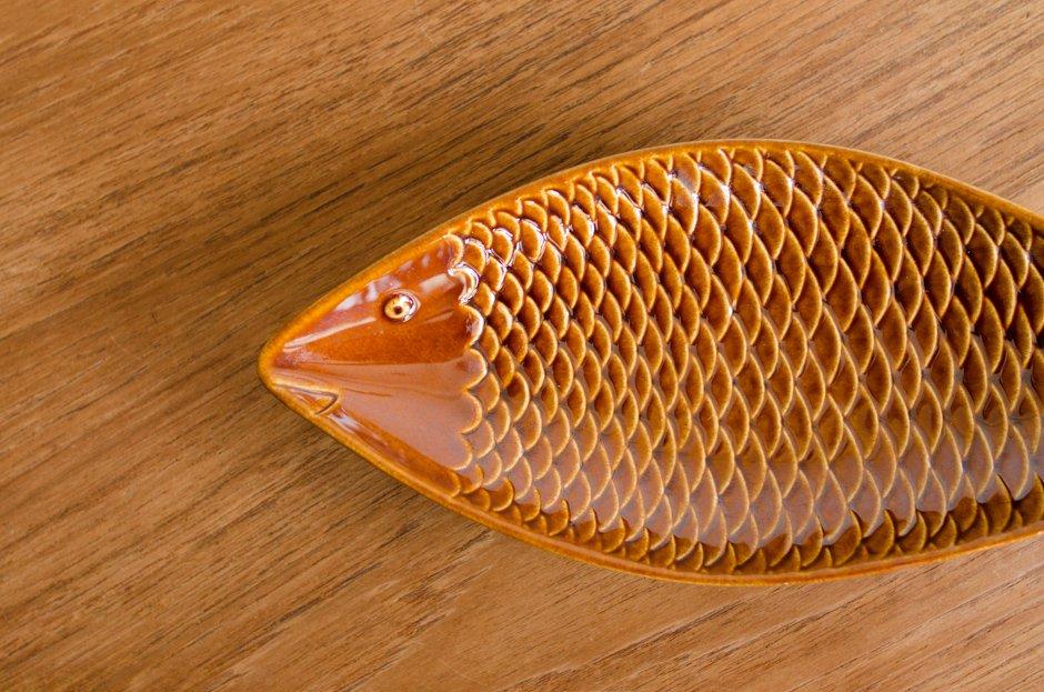 Stig Lindberg スティグ・リンドベリ Fish Plate Brown 1 Gustavsberg