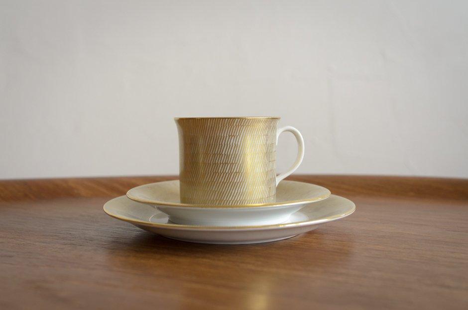 Rorstrand PRIMEUR Gold コーヒーカップ&ソーサー&プレート/Signe Persson Melin