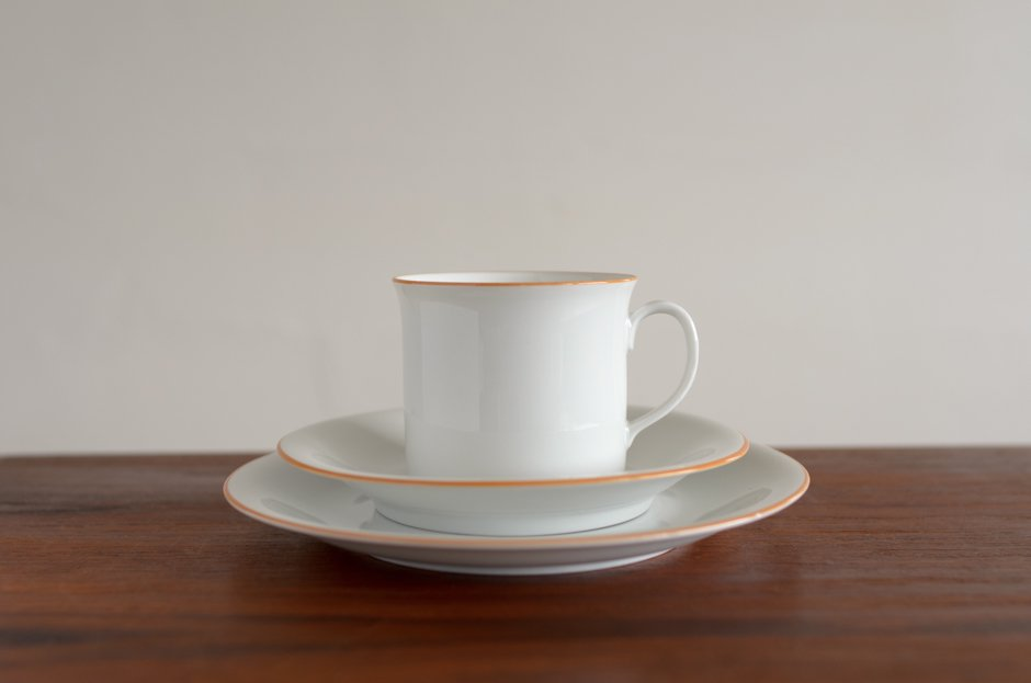 Signe Persson Melin PRIMEUR White コーヒーカップ & ソーサー & 17cmプレート #1 Rorstrand