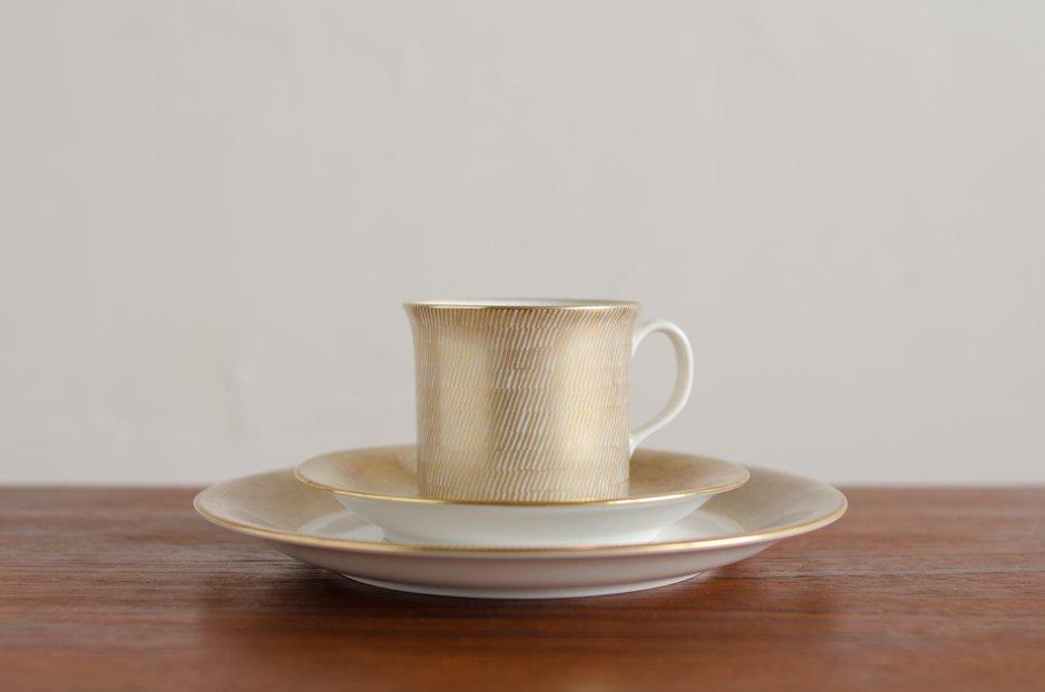 リザーブ Signe Persson Melin PRIMEUR Gold トリオ 2SET & TEAK TRAY & GLASS