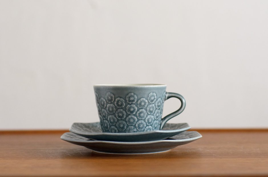 Blue Azur アズール トリオセット カップ&八角ソーサー&八角プレート #3 イェンス・クイストゴー