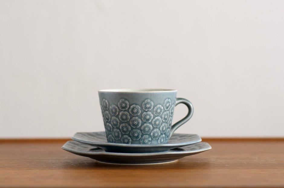 Blue Azur アズール トリオセット カップ&八角ソーサー&八角プレート #4 イェンス・クイストゴー