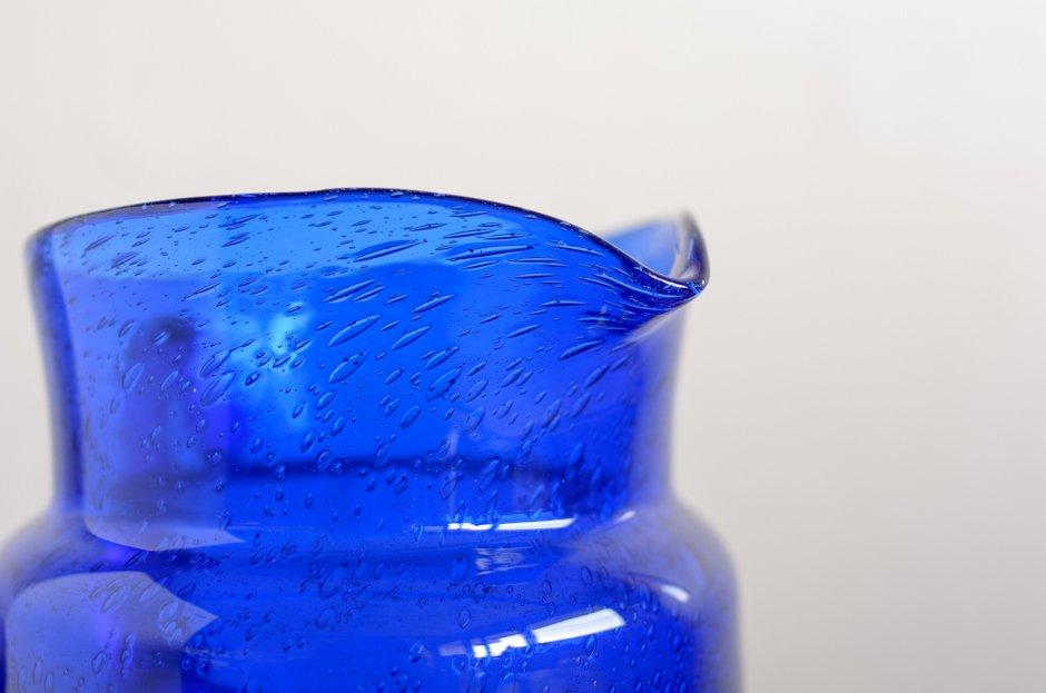 Erik Hoglund エリック・ホグラン バブルガラス 水差し ブルー Boda