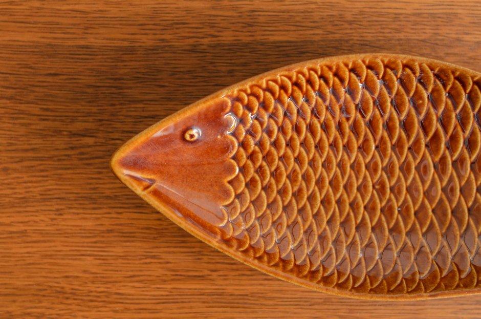 Stig Lindberg 30cm 魚プレート Brown Gustavsberg