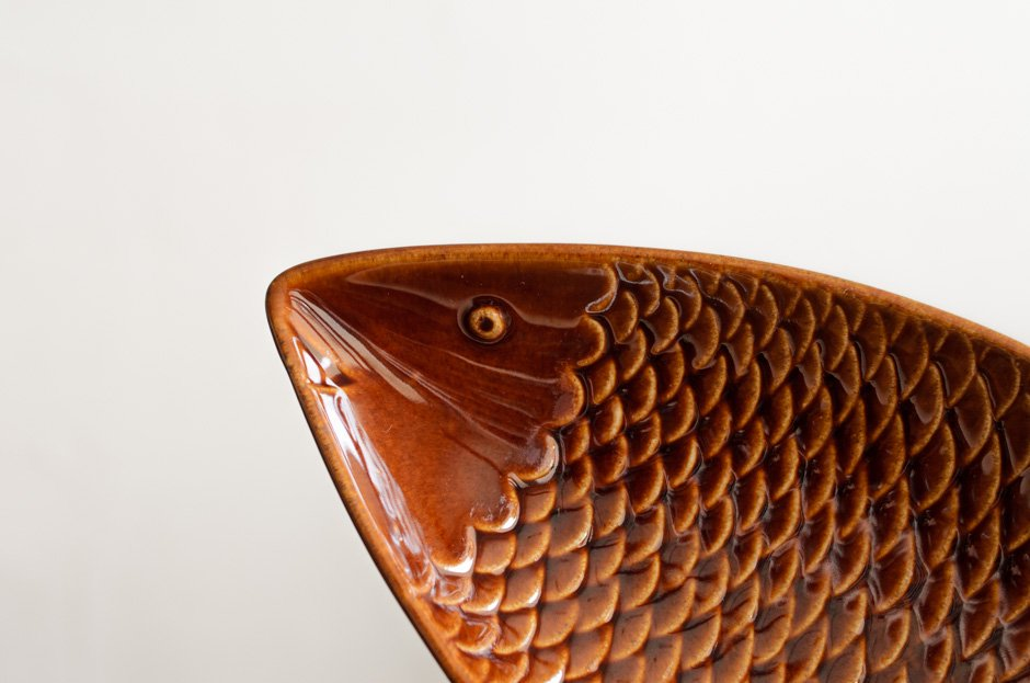 Stig Lindberg スティグ・リンドベリ 31cm Fish Plate Brown Gustavsberg