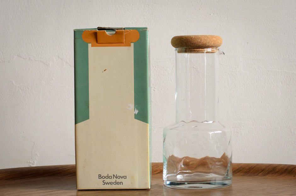 Signe Persson-Melin Cork Glass Vinegar Decanter Boda Nova Original Box