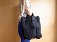 black linen double handle basket