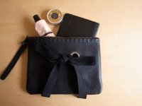 ribbon leather mini clutch