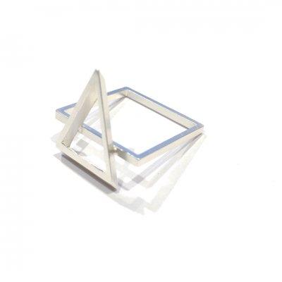 三角四角リング(白銀)