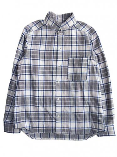"ESCAPE / CHECK  SHIRTS ""STAND COLLAR"" - BLUE"