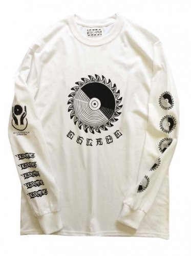 "ESCAPE / LONG SLEEVE T-SHIRT ""CIRCULAR SAW"" - WHITE"