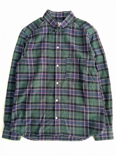 "ESCAPE / CHECK  SHIRTS ""STAND COLLAR"" - GREEN"