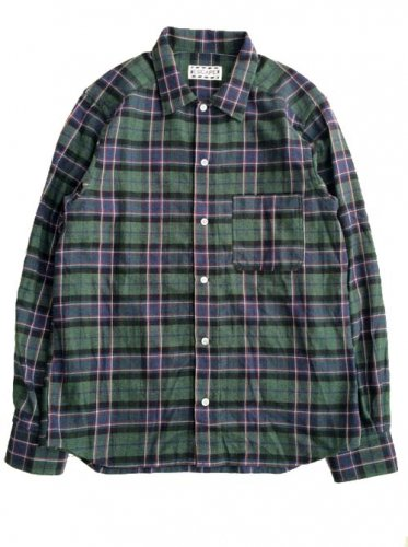 "予約商品 ESCAPE / CHECK  SHIRTS ""OPEN COLLAR"" - GREEN"
