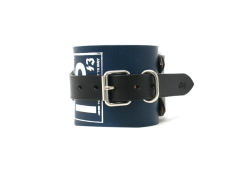 1%13 / Unclean Wrist Band ( for Left Hand )  - BLUE LEATHER x SILVER PARTS