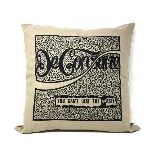 "SEDITION / ""Deconsume"" HESSIAN CUSHION -  BLACK INK"