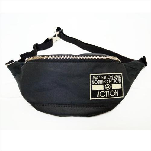 予約商品 ACT / OILED 2WAY BUM BAG  - BLACK x GREEN