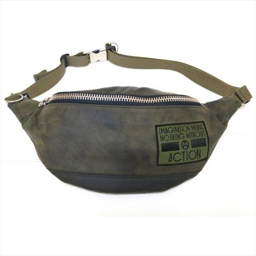 予約商品 ACT / OILED 2WAY BUM BAG  - OLIVE x RED