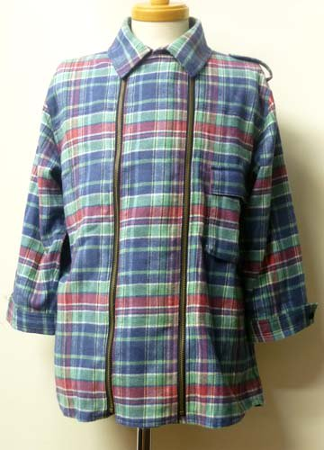Zleipnes / W Zip 3/4 Flannel Shirts-Blue