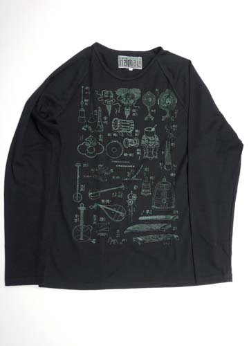 NAMALI / otozukushi Raglan Long Sleeve T-Shirts-Black x Green