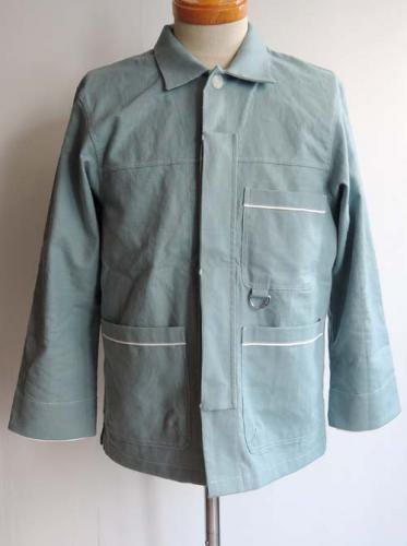 ESCAPE / C/L WORK SHIRT JACKET - BLUEGRAY x WHITE