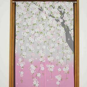 のれん 友禅桜 85×150cm【パネルカーテン】★