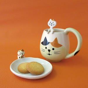 デコレ(DECOLE)まんまるマグ&スプーンセット 三毛猫【おしゃれ/キッチン雑貨】