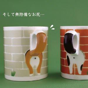 デコレ(DECOLE)塀からこんにちはマグ【柴犬とハチワレ猫/キッチン雑貨】