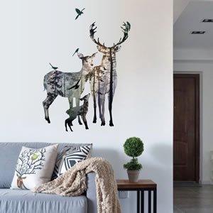 ウォールステッカー 鹿と大自然 TMR【北欧インテリア】