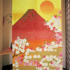 のれん 赤富士 85×150cm【パネルカーテン】★
