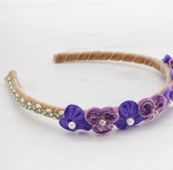 ベルベットフラワーカチューシャ Purple