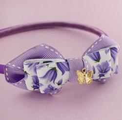 プリントリボンバタフライチャームカチューシャ Lilac