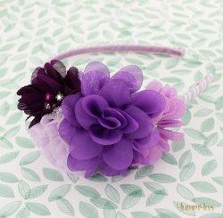 フラワーストライプカチューシャ Purple