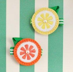 レザーレモン&オレンジヘアクリップ