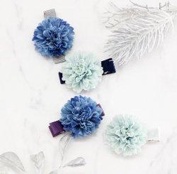 ポンポンフラワーヘアクリップ-Blue