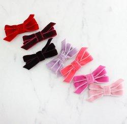 ベルベットブティックリボンヘアクリップ-Pink