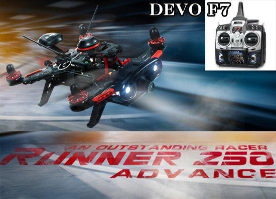 セール特価Walkera Runner 250 Advance  (DEVO用) + DEVO F7  (FPV / 7ch プロポ)+  Backpack (sponge excluded)サー…