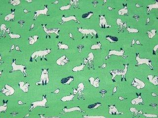 アニマルソフトローン 愛らしい動物たち/ミント 106cm巾