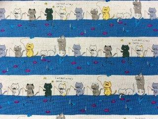 綿麻キャンバス 釣り好き猫ちゃん ボーダー柄 110cm巾