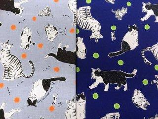 綿麻キャンバス ネコ柄 猫 コットンリネン 巾110cm