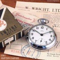 貴重!1961年 SMITHS EMPIRE/スミス 懐中時計 SV/WH ギャランティー・納品書・BOX付